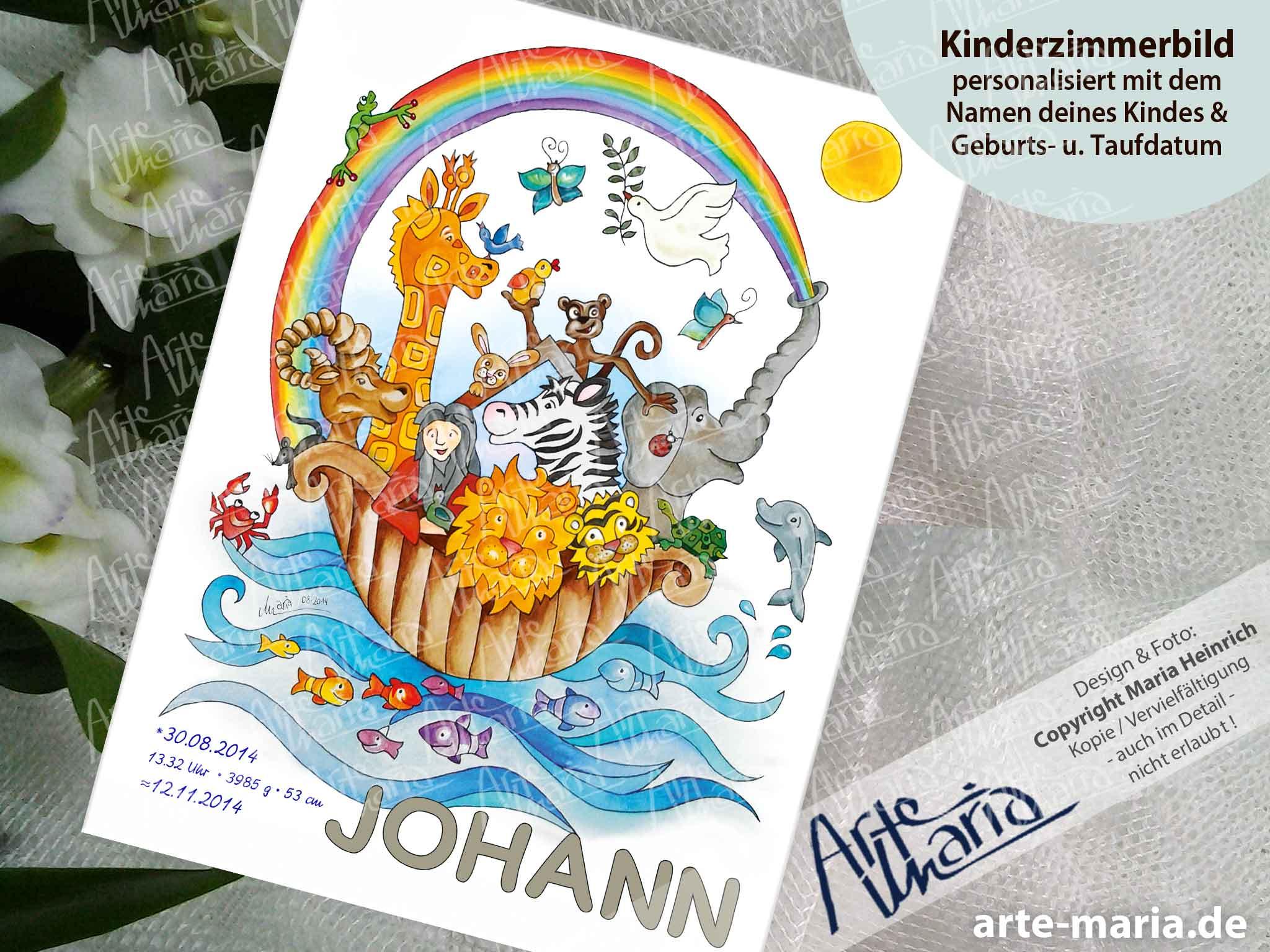 Artemaria Kinderzimmerbild Arche Noah Johann Taufbild