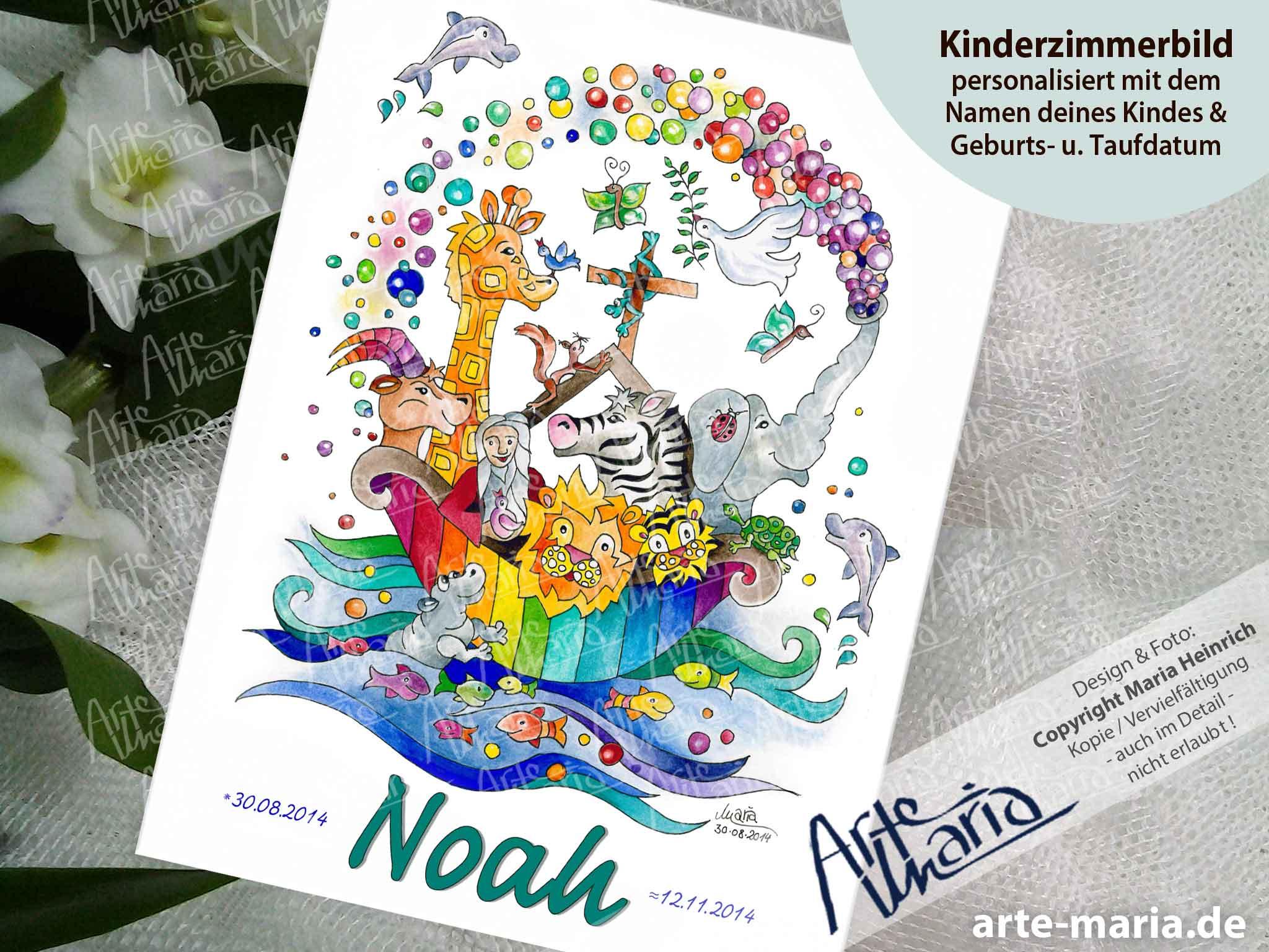 Artemaria Kinderzimmerbild Arche Noah Bubbles Taufbild