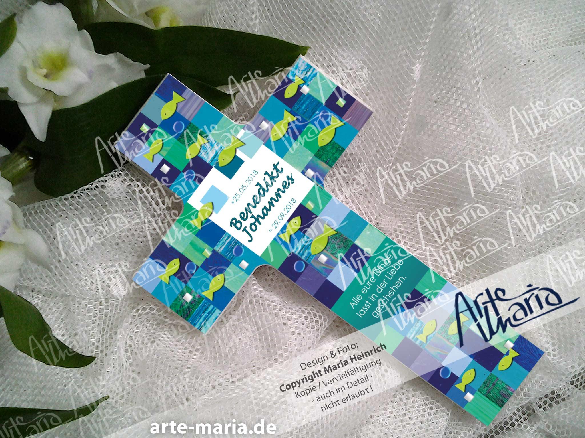 Artemaria Taufkreuz Mosaik Kreuz Bettina Taufe