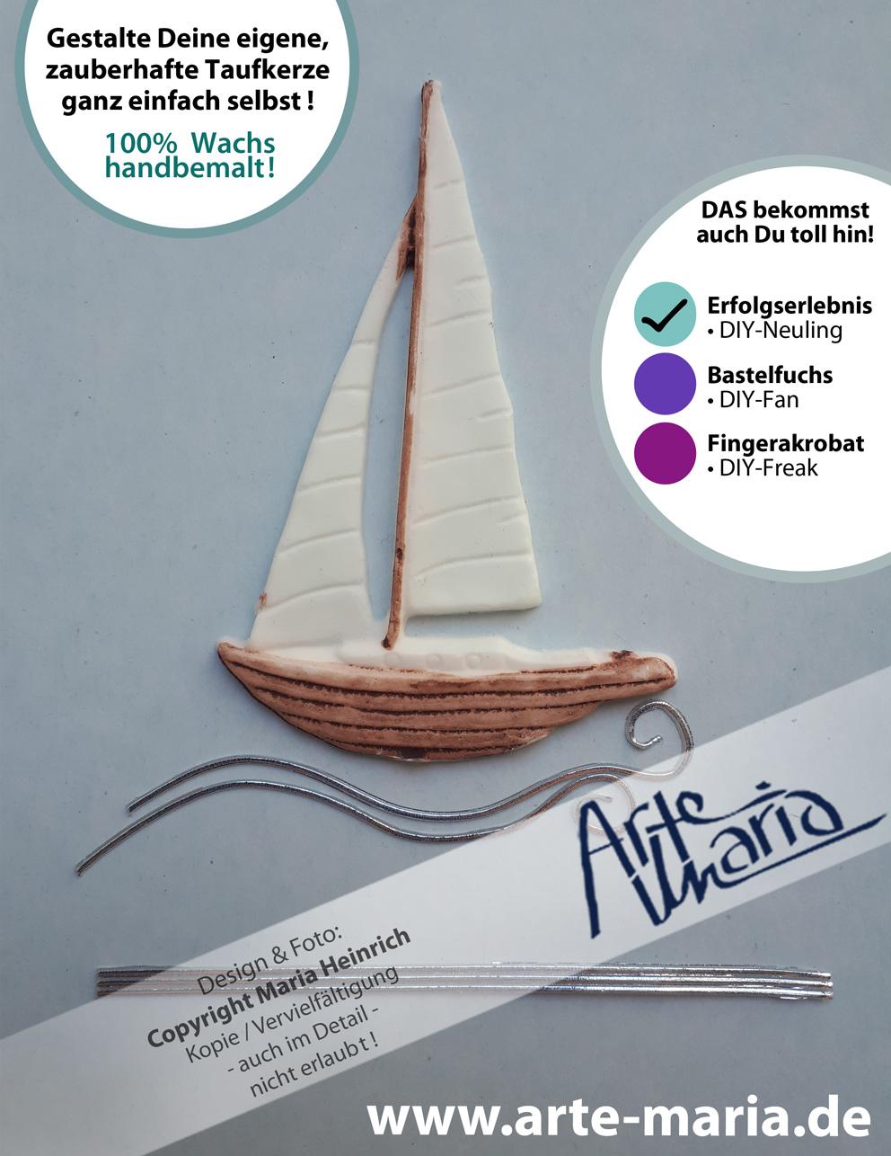 Artemaria Segelschiff Segelboot Boot Wachsverzierteil