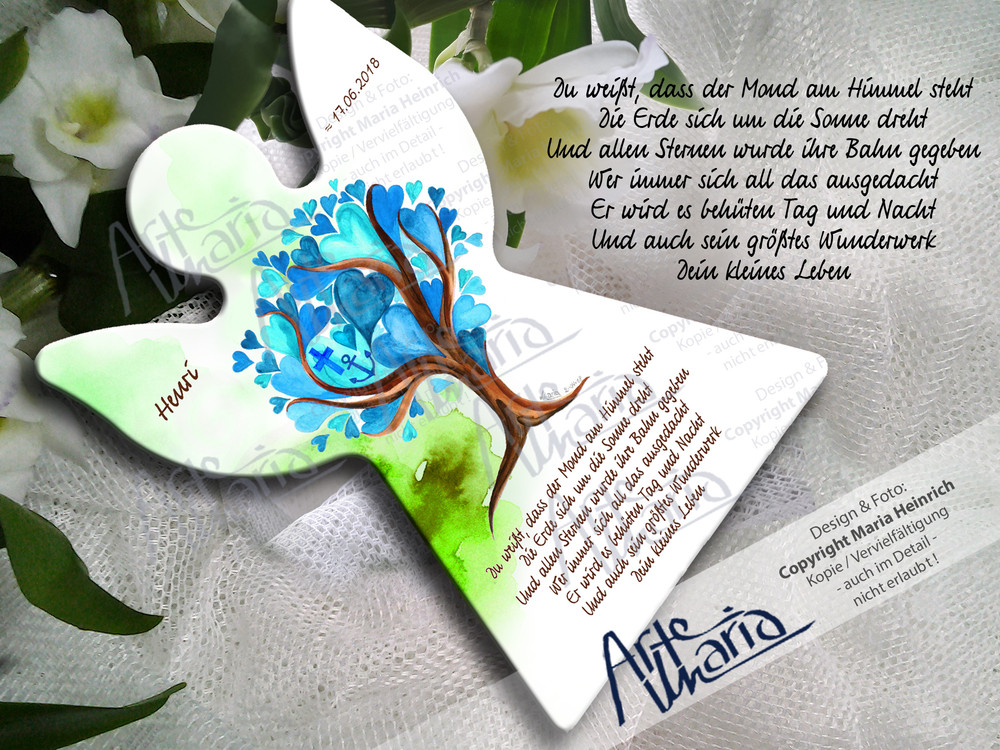 Artemaria Schutzengel Henri Blau Grün Herzchenbaum