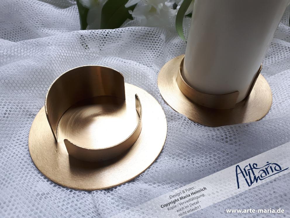 Kerzenständer Offen Kerzenhalter Gold Matt Gebürstet Für Kerzen Mit 6 Cm Durchmesser