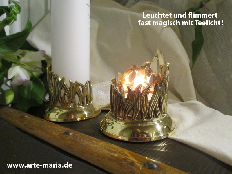 Kerzenständer Modern Kerzenhalter Kerzenröhre Design Flamme Gold Hochglanz 4 Cm