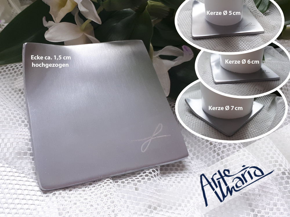 artemaria kerzenteller silber dynamik viereckig quadratisch 8 5 x 8 5 cm kerzenst nder. Black Bedroom Furniture Sets. Home Design Ideas