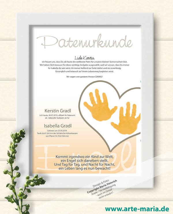 Artemaria Patenurkunde Tilda Geschenk Der Eltern An Den