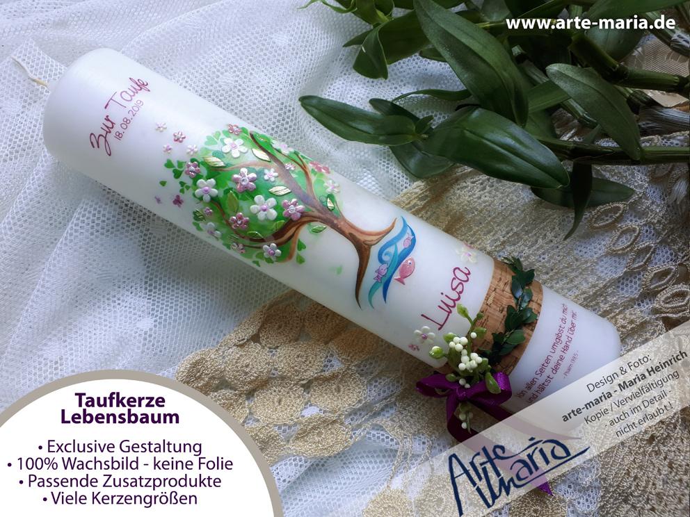 ArteMaria - Taufkerze Lebensbaum LUISA© Taufspruch ...