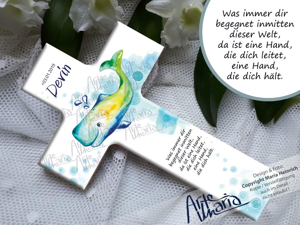 Artemaria Taufkreuz Devin Walfisch Wal Taufe Geburt