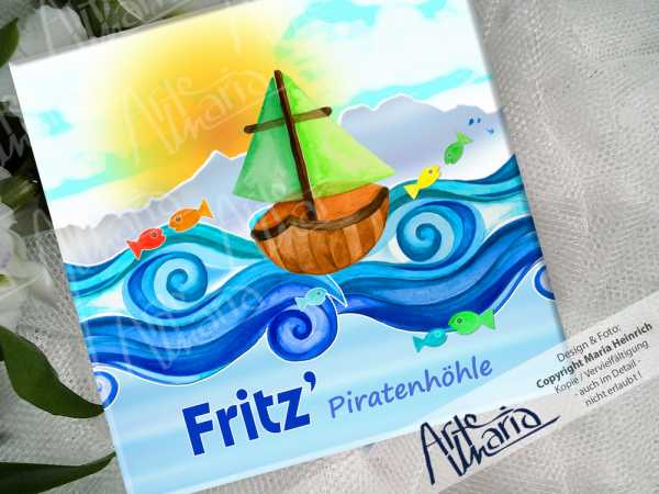 Namensschild Fritz© Piratenhöhle2| Kinderzimmer-Schild | Türschild | Mini-Fingerprint-Bild