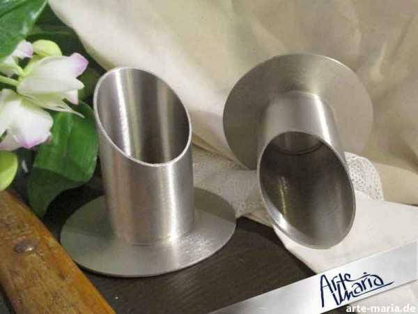 Kerzenständer Metall gebürstet für Kerzen Ø 5 cm Kerzenhalter Kommunion Kerze